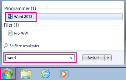 Søk etter Outlook-apper i Windows 7