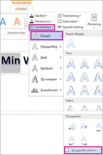 Kommandoene Teksteffekter, Skygge og Skyggealternativer