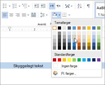 Bruke skygge legging farge på tekst