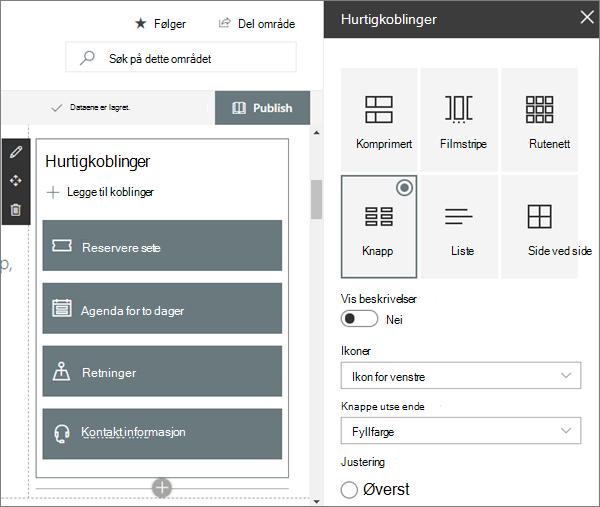 Eksempel på nett delen for hurtig koblinger for moderne workshop-nettsted i SharePoint Online