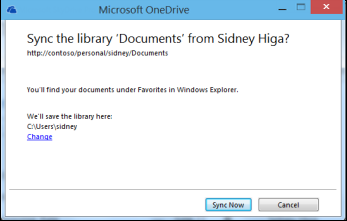 Dialogboksen for synkronisering av bibliotek med kobling for å endre plassering