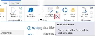 Sletter en app fra biblioteket Apper for SharePoint i appkatalogen