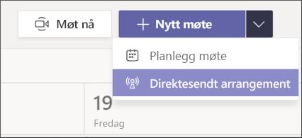 ny møte-Live arrangements knapp
