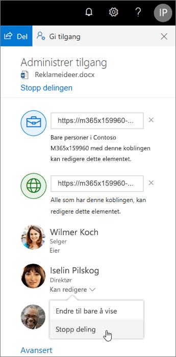 Endre eller avslutte deling i OneDrive
