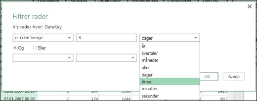 Power Query – definer filtreringsalternativer med timer, minutter og sekunder