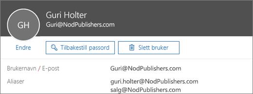 Denne brukeren har én primæradresse og to aliaser.