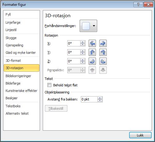 3D-rotasjon i Formater figur-dialogboksen