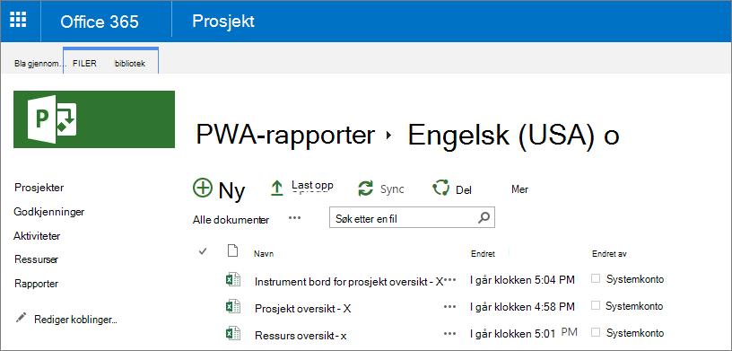 Velg språk i PWA-rapporter-siden.