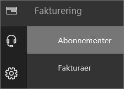 Skjermbilde som viser Abonnementer i Fakturering-menyen i det nye administrasjonssenteret for Office 365.
