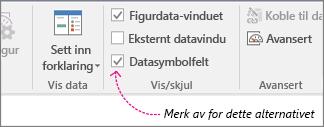 Data-fanen, avmerkingsboksen Datasymbolfelt