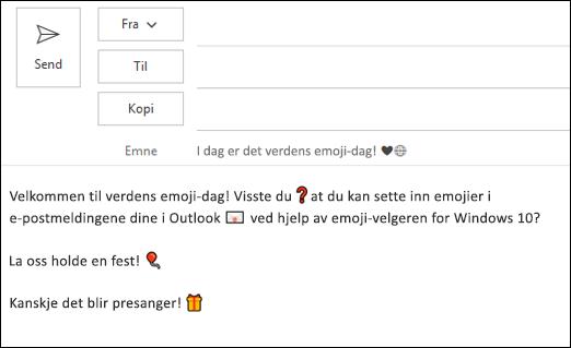 Du kan sette inn én eller flere emojier i e-postmeldingen.
