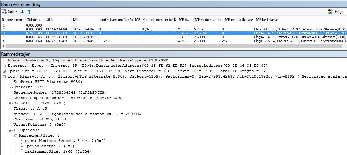 Nettverksporing filtrert i Netmon ved hjelp av de innebygde kolonnene.