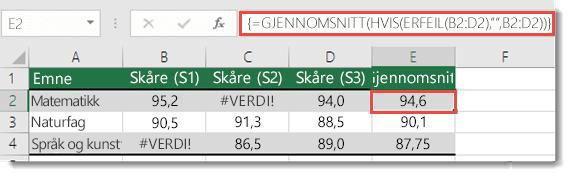 Matrise-funksjonen i GJENNOMSNITT for å løse #VERDI!-feil