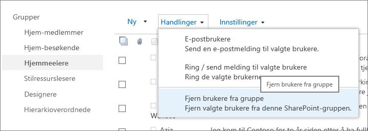 Visning av hurtigstartlinjen med grupper og Handlinger-menyen åpner seg med Fjerne brukere fra gruppe som forhåndsvalgt.