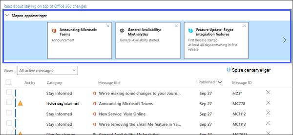 Skjermbilde av opptak: som viser viktige oppdateringer-delen av postmelding for.