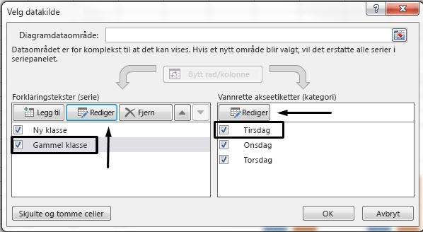 Du kan redigere forklaringsnavnet i dialogboksen Velg datakilde.