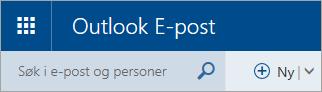 Et skjermbilde av øvre, venstre hjørne av den klassiske postboksen i Outlook.com