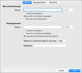 Serverinnstillinger for Exchange-kontoer