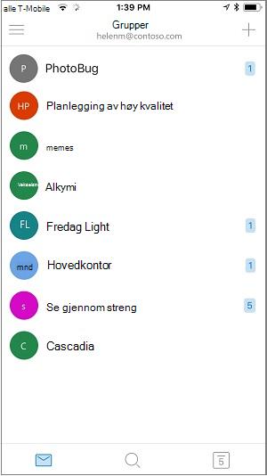Start skjerm bilde av grupper-mobilappen