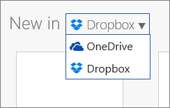 Bilde som viser at Dropbox er lagt til i stedene der du kan opprette nye filer i Office Online