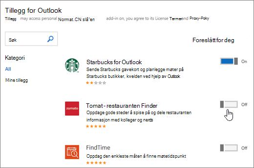 Skjermbilde av tillegg for Outlook-side der du kan se installerte tillegg og søk etter og velg flere tillegg.