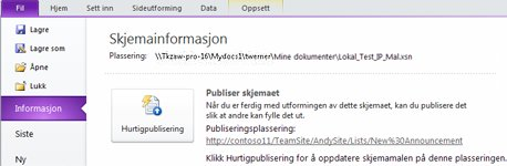InfoPath-listeskjemaer for SharePoint
