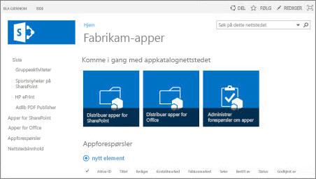 Skjermbilde av hjemmesiden for et Appkatalogområdet.