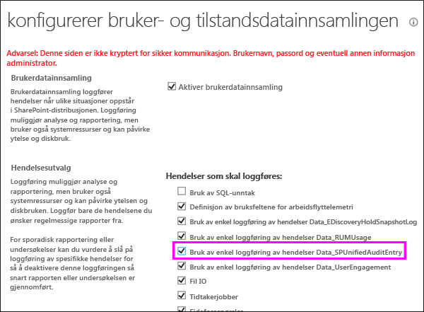 Alternativet for å aktivere DLP Bruk logger