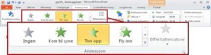 Kategorien Animasjoner på båndet i PowerPoint 2010