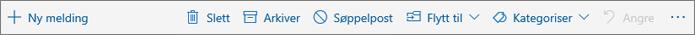 Et skjermbilde som viser kommandolinjen som vises i leseruten, med alternativer for vanlige handlinger som Slette, Arkivere og Flytt til.