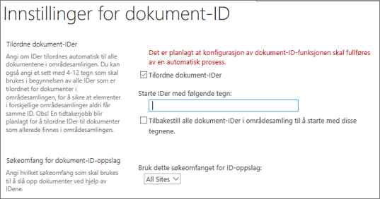 Tilordne dokument-ID-er på siden Innstillinger for dokument-ID