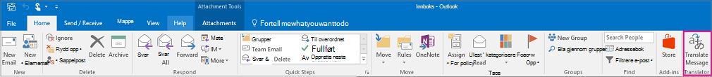 Båndet i Outlook 2016 med Oversett melding-knappen uthevet