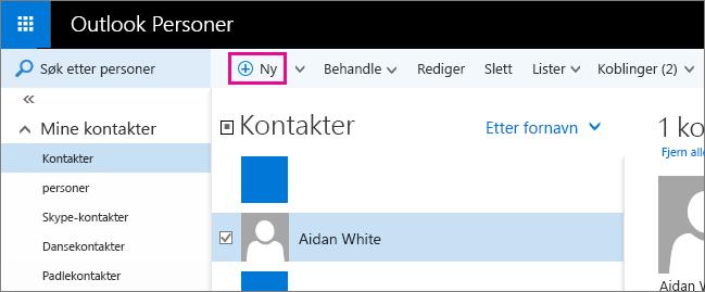 Skjermbilde av verktøylinjen på Outlook Personer-siden, med en boble for Ny-kommandoen.