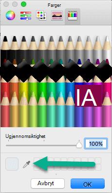 Dialog boksen farger inneholder et pipette verktøy.