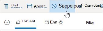 Et skjermbilde av knappen søppelpost i Outlook.com.
