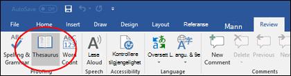 Kommandoen Synonymorbok i Korrekturverktøy i kategorien Se gjennom