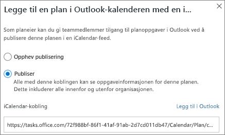 Skjerm bilde av dialog boksen Legg til plan i Outlook-kalenderen