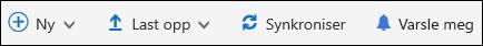 Office 365 – Hovedmeny for dokumentbibliotek
