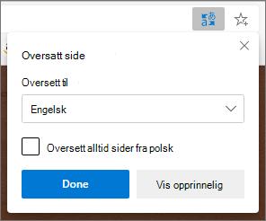 Microsoft Translator-panelet som viser statusen for oversettelsen.