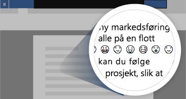 Dokument med zoomet område som viser et antall tilgjengelige emojier