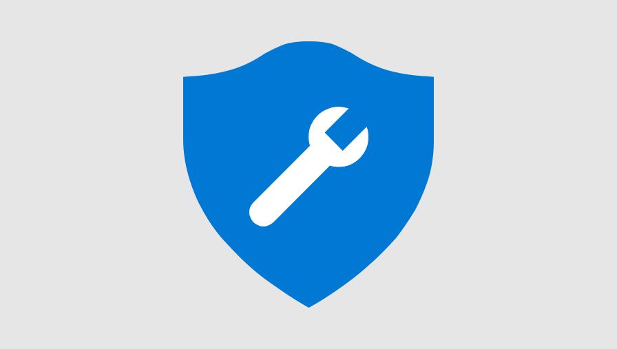 Illustrasjon av en skjerm med en skiftenøkkel på den. Den representerer sikkerhetsverktøy for e-postmeldinger og delte filer.