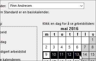 Feriedager valgt i kalenderen