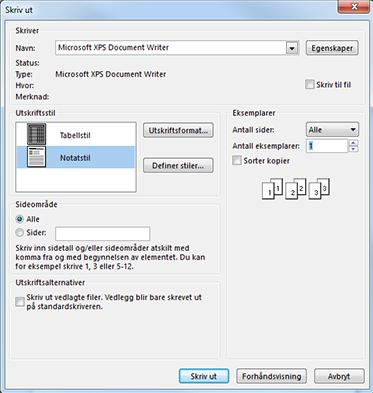 Skriveralternativer for Outlook-dialogboksen for utskrift