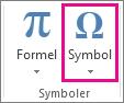 Symbol-kommandoen i Sett inn-fanen