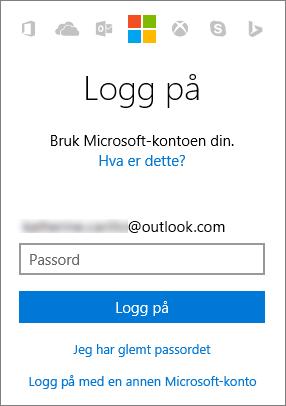 Skjermbilde som viser påloggingsskjermen for Microsoft-kontoen