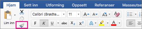 På fanen Hjem er alternativet Kopier formatering fra ett sted og bruk det på et annet, uthevet.
