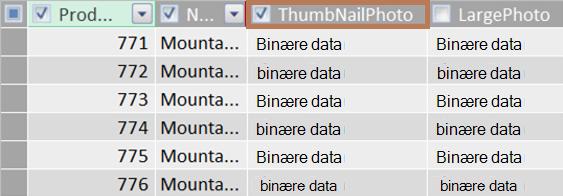 Eksempel på en binær kolonne i et miniatyrbilde