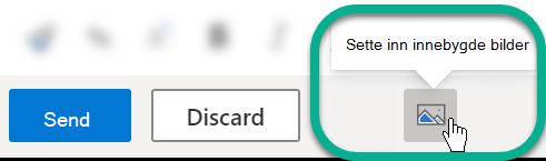 Under meldings teksten velger du knappen Sett inn bilder på nettet.