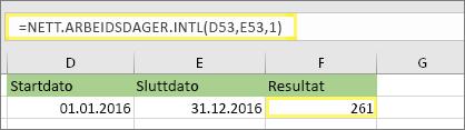= NETT.ARBEIDSDAGER. INTL(D53,E53,1) og resultat: 261