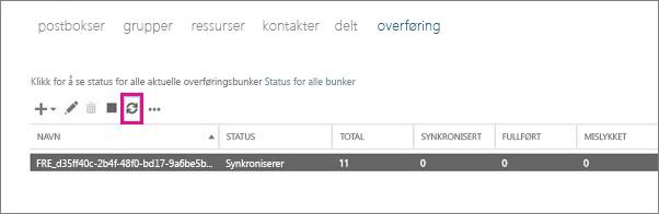 Klikk Oppdater for å vise postbokser som synkroniseres.